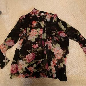 Sheer floral button down with pull up sleeves